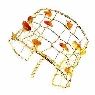 18ct Gold Plated Large Bangle with Orange Stones