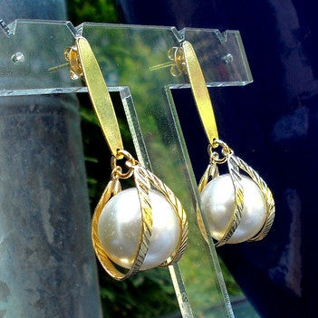 18ct Gold Plated Large Pearl Effect Earrings