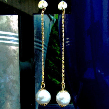 18ct Gold Plated Long Drop Pearl Effect Earrings