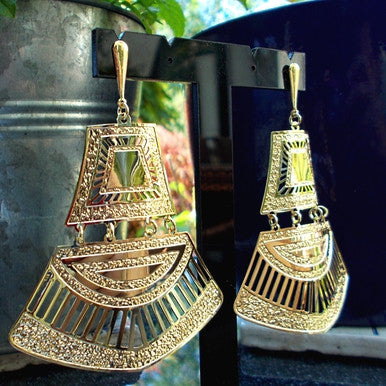 18ct Gold Plated Maxi Earrings in Ancient Egyptian Style