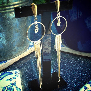 18ct Gold Plated Maxi Earrings in Dreamcatcher Style