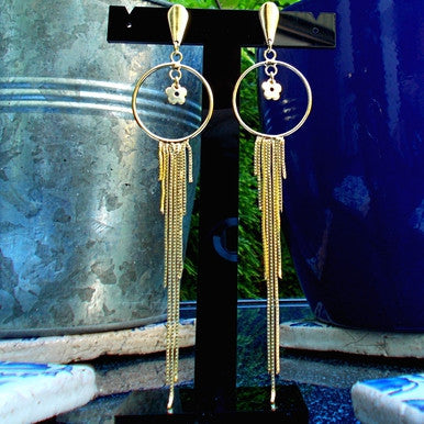 18ct Gold Plated Maxi Earrings in Dreamcatcher Style with Flower Detail