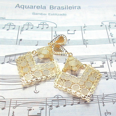 18ct Gold Plated Maxi Earrings in Spanish Baroque Style