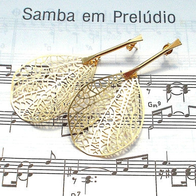 18ct Gold Plated Maxi Earrings of Autumn Leaf Impression
