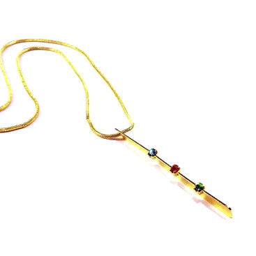 18ct Gold Plated Necklace with Multi Colour Stone Effects