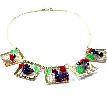 18ct Gold Plated Necklace with Multi Colour Stone Squares