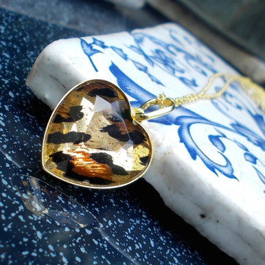 18ct Gold Plated Necklace with Tiger Eye Effect Heart Pendant