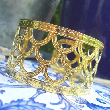 18ct Gold Plated Oriental Style Cuff