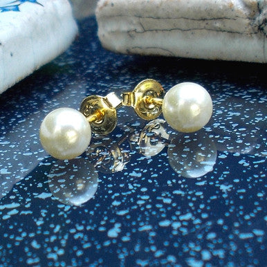 18ct Gold Plated Pearl Effect Stud Earrings