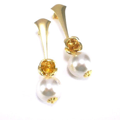 18ct Gold Plated Pearl Effect and Rose Earrings