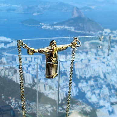 18ct Gold Plated Pendant and Necklace 'Christ the Redeemer' (Corcovado)