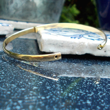 18ct Gold Plated Plain Narrow Bangle