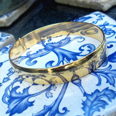 18ct Gold Plated Plain Wide Bangle
