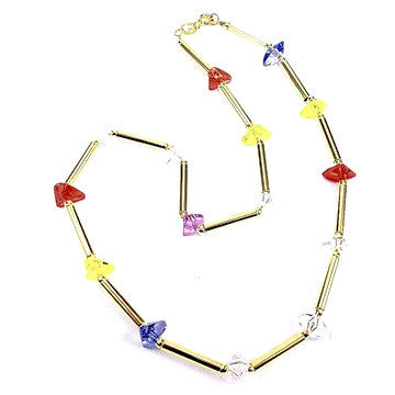 18ct Gold Plated Retro Necklace with Multicoloured Stone Effects