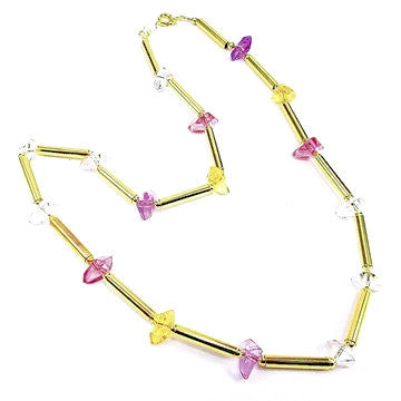 18ct Gold Plated Retro Necklace with Tricoloured Stone Effects