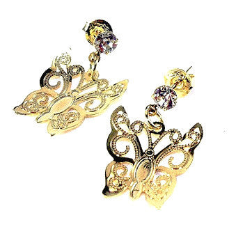 18ct Gold Plated Retro Style Butterfly Earrings with Strass Stone