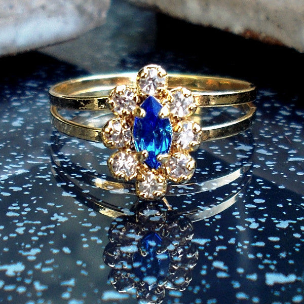 18ct Gold Plated Ring with Blue Stone Effect