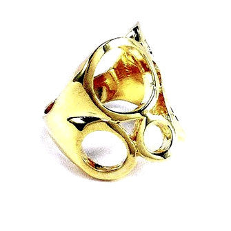 18ct Gold Plated Ring with Fancy Circles Design