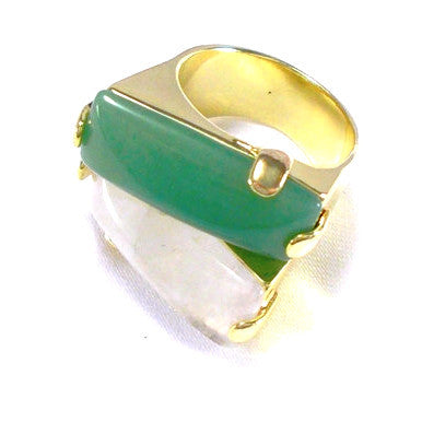 18ct Gold Plated Ring with Green and White Quartz