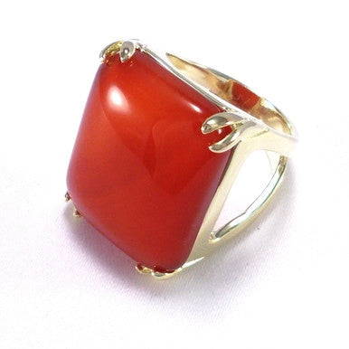 18ct Gold Plated Ring with Orange Agate Gemstone