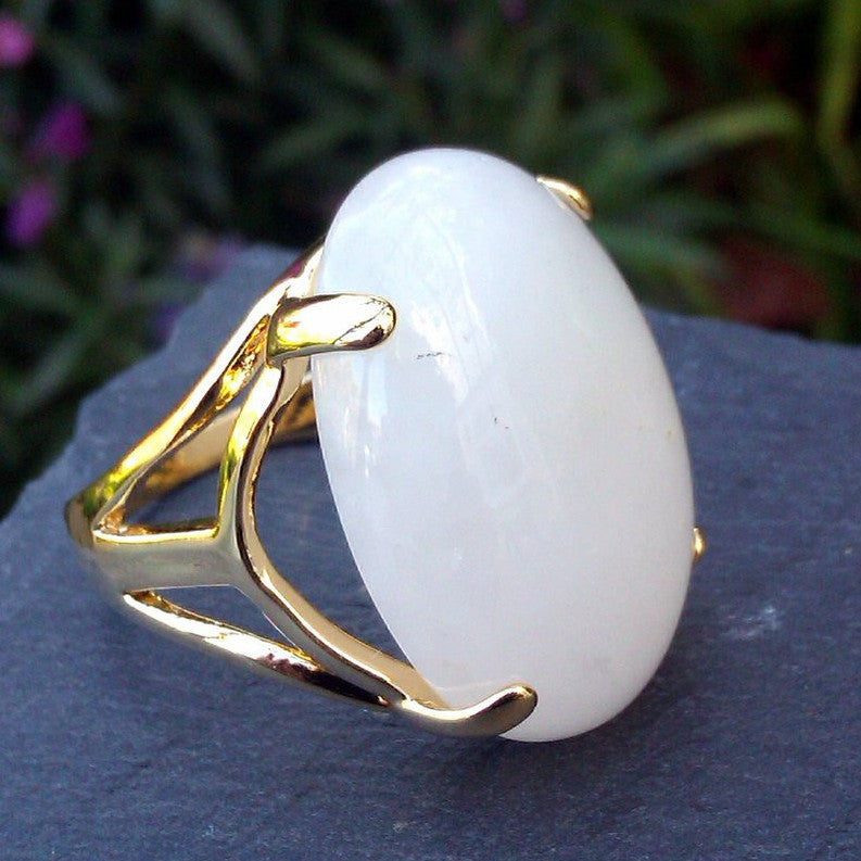 18ct Gold Plated Ring with Milky White Quartz