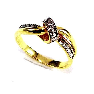 18ct Gold Plated Ring with Rhodium Detail