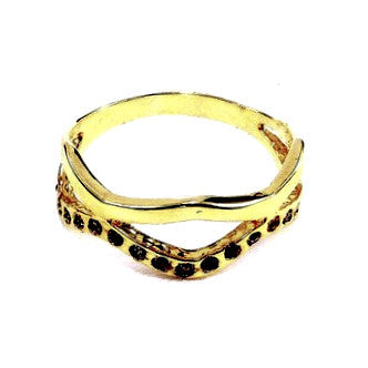 18ct Gold Plated Ring with Small Cubic Zirconia Effect Stones
