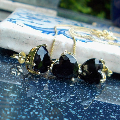 18ct Gold Plated Set of Black Crystal Heart Shaped Earrings and Pendant