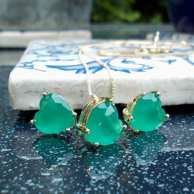 18ct Gold Plated Set of Green Crystal Heart Shaped Earrings and Pendant