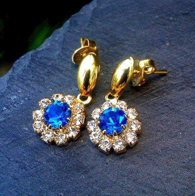 18ct Gold Plated Small Blue Stone Effect Earrings with Strass Stones