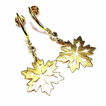 18ct Gold Plated Snowflake Earrings with Strass Stone