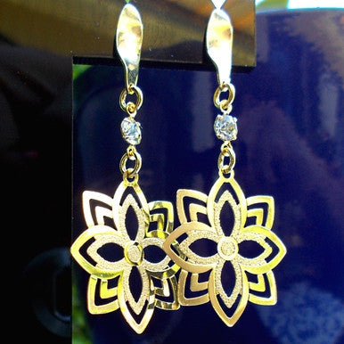 18ct Gold Plated Star Flower Earrings with Strass Stone