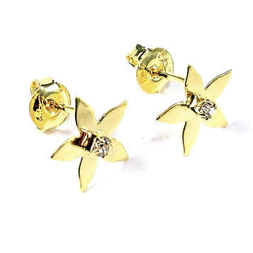 18ct Gold Plated Star Stud Earrings with Strass Stone