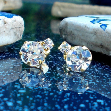 18ct Gold Plated Stud Earrings with Large and Small Strass Stones
