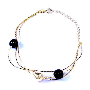 18ct Gold Plated Tassel and Chain Bracelet with Black and Gold Beads