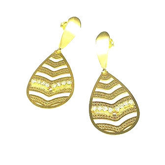 18ct Gold Plated Teardrop Earrings with Strass Stones