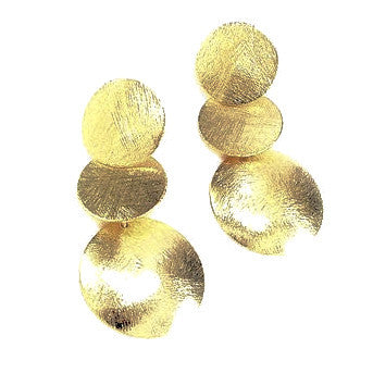 18ct Gold Plated Three Disk Drop Earrings