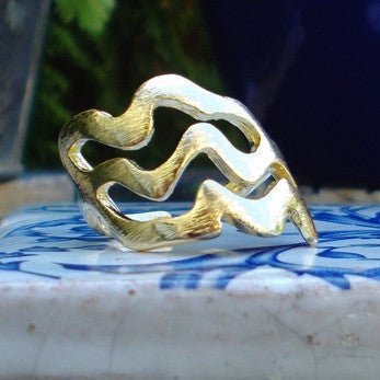 18ct Gold Plated Three Waves Ring