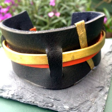 Black, Brown and Metal Leather Bangle