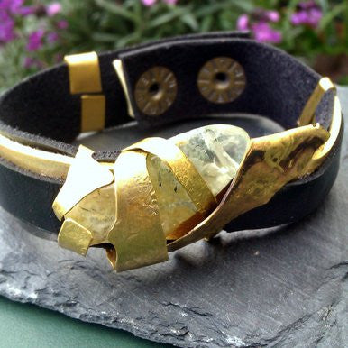 Black and Gold Leather Bracelet with Green Quartz