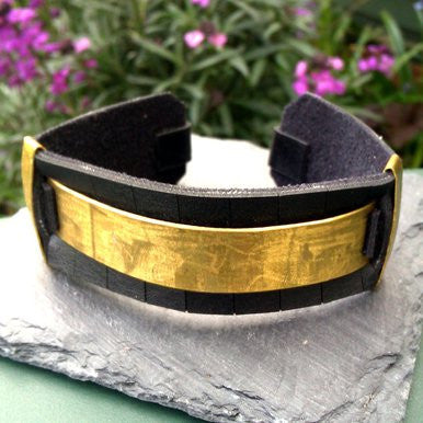 Black and Metal Leather Bangle