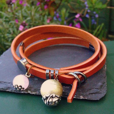 Brown Wrap-Around Leather Bracelet with Rose Quartz and Vintage Bead