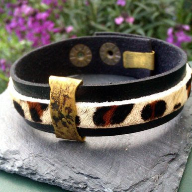 Black and Animal Print Leather Bracelet with Metal Details