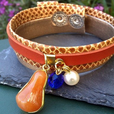 Brown and Snake Leather Bracelet with Agate and Glass Beads