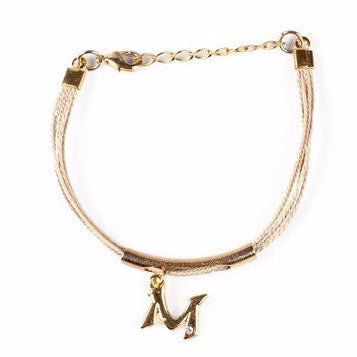 "Buriti Palm Straw Bracelet with Letter ""M"" Charm"