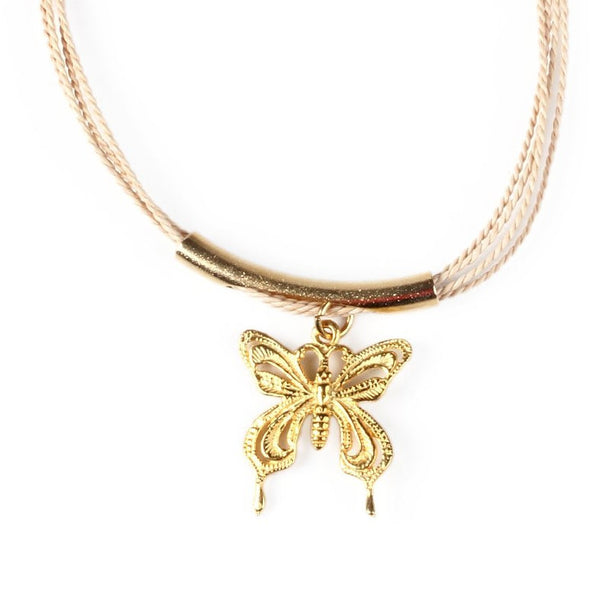 Gold Plated Metal Butterfly Charm with Buriti Palm Straw Bracelet
