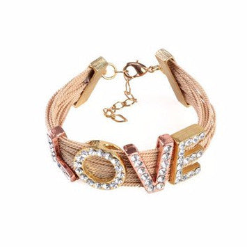 "Chunky Buriti Palm Straw Bracelet ""Love"""