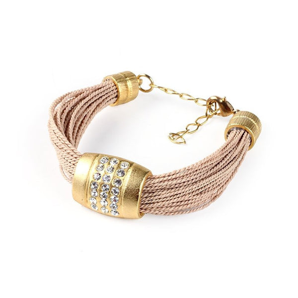 Chunky Buriti Palm Straw Bracelet with Strass Banded Buckle
