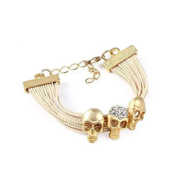 Compact Buriti Palm Straw Bracelet with Three Gold Plated Skulls