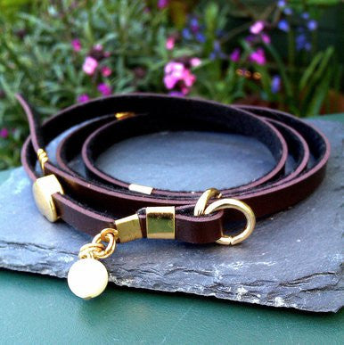 Dark Brown Wrap-Around Leather Bracelet with Pearl Effect Bead and Gold Plated Heart